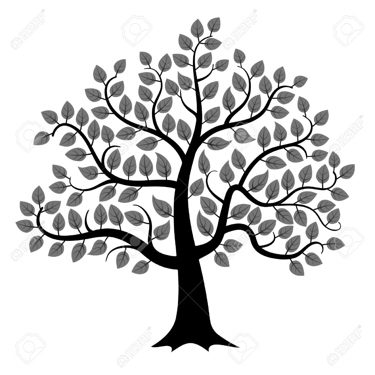 Black tree silhouette isolated on white background, vector illustration.