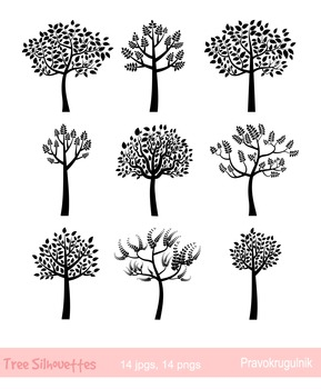 Black Tree Silhouettes Clipart, Trees with leaves silhouette, Fingerprint  Tree.