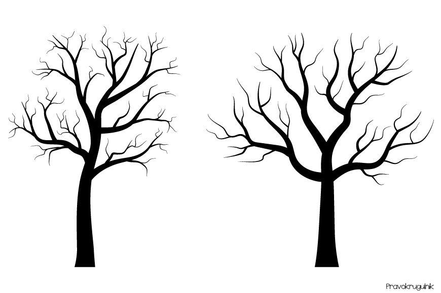 Black tree silhouettes clipart, Fingerprint trees clip art By.