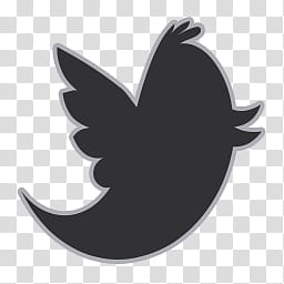 Flat Gray Icons, twitter, black bird transparent background PNG.