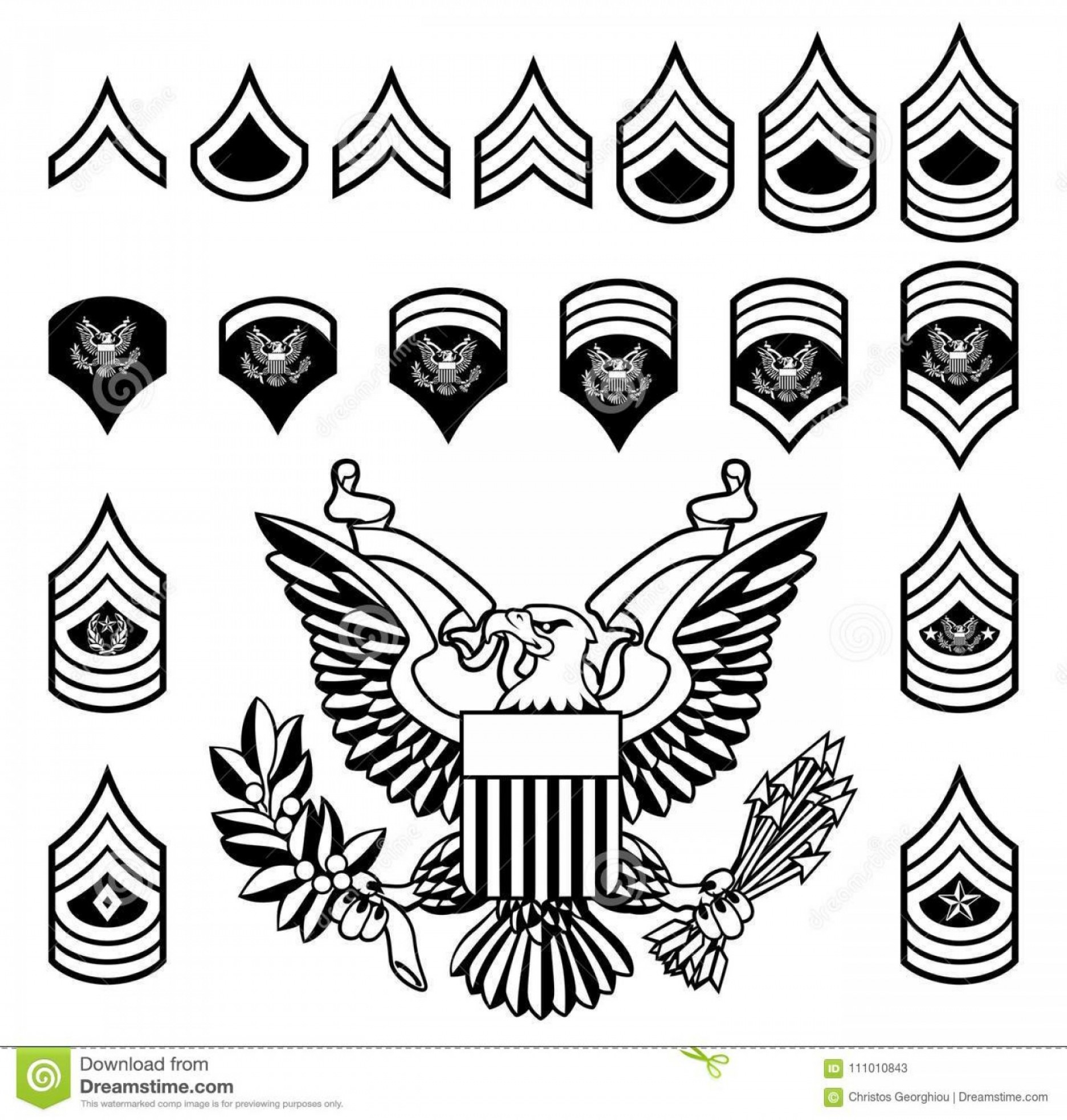 Army Military Rank Insignia Set American Enlisted Ranks.