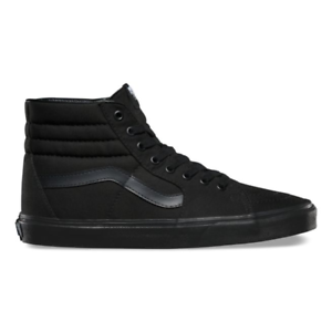 Details about Vans SK8 HI Mens Womens All Black Canvas Lace Up High Top  Skateboard Shoes.