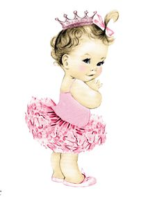 Vintage Princess Baby Clipart.