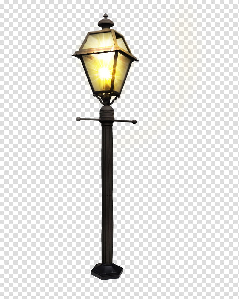 Street Lamp, black and yellow street lamp transparent.