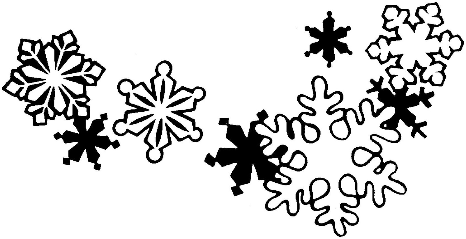 Snowflake black and white clipart.
