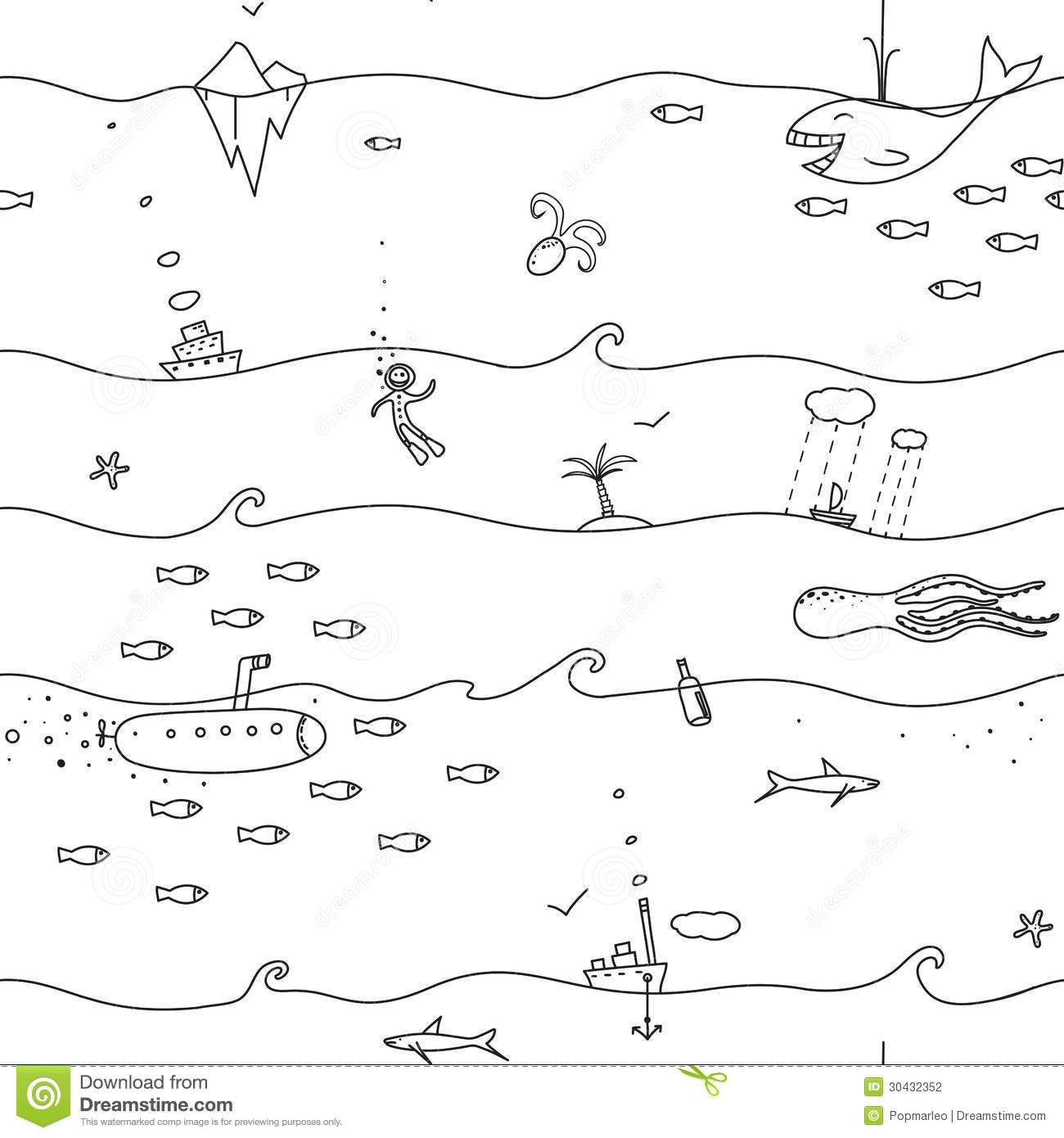 Underwater clipart black and white.