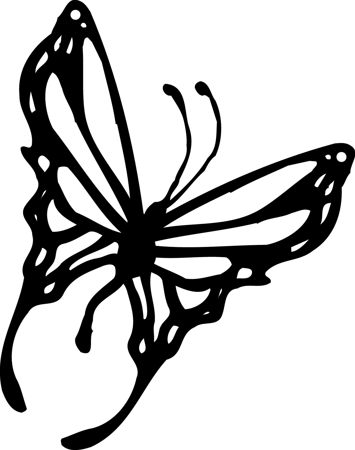 Black and white clipart butterfly.