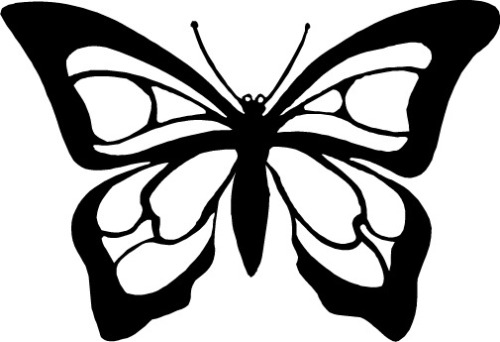 Fancy black and white butterfly clipart.