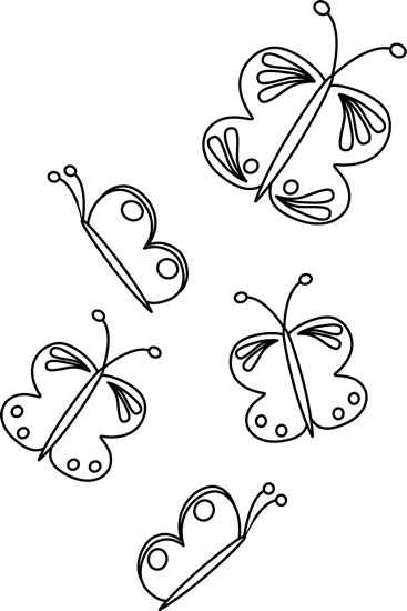 Flying butterfly clipart black and white.