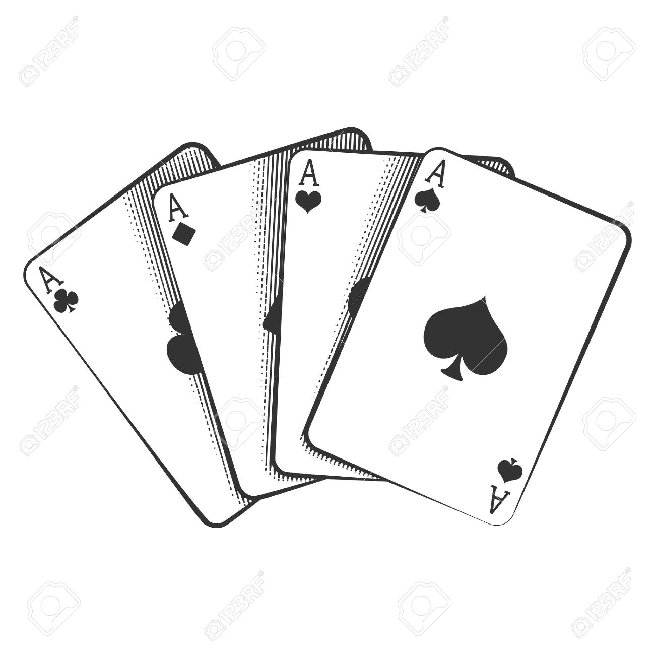 Deck Of Cards Clipart Black And White.