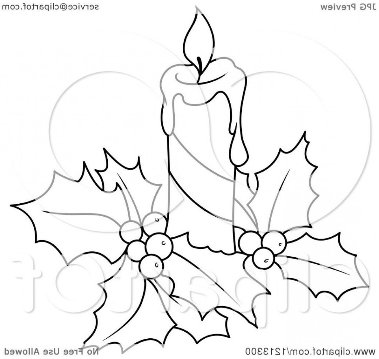 Clipart Of A Black And White Christmas Candle Holly Royalty Free.
