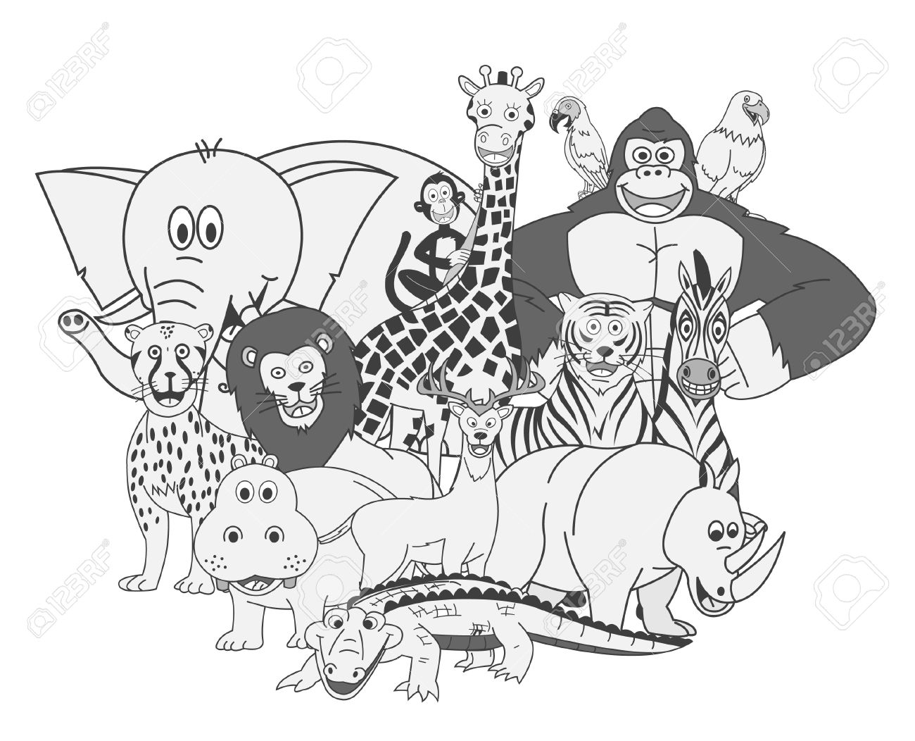 Animal group black white clipart PNG and cliparts for Free Download.