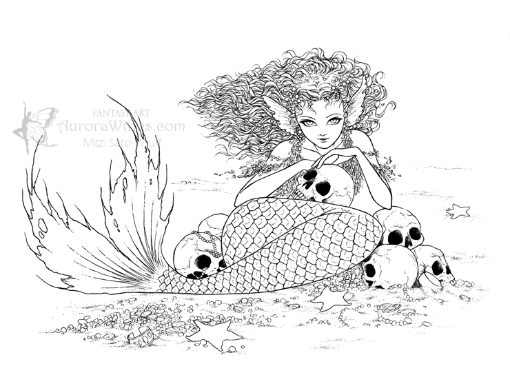 Evil Mermaid Coloring Pages.