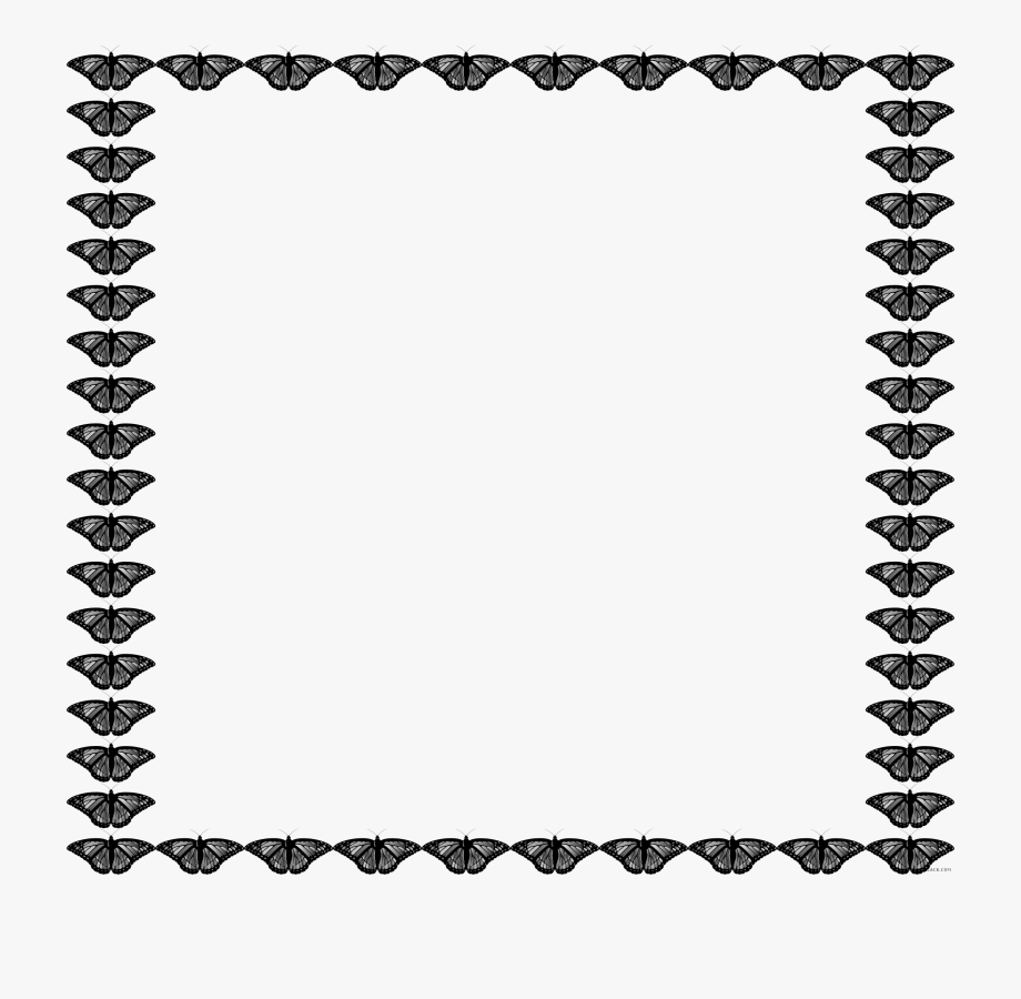 Butterfly Frame Animal Free Black White Clipart Images.