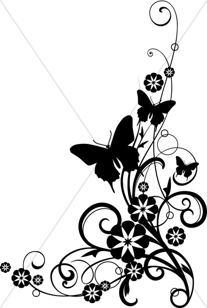 Butterflies With Vine black and White Clipart.