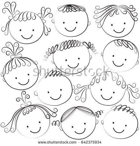 Set of kids heads in black color on a white background.