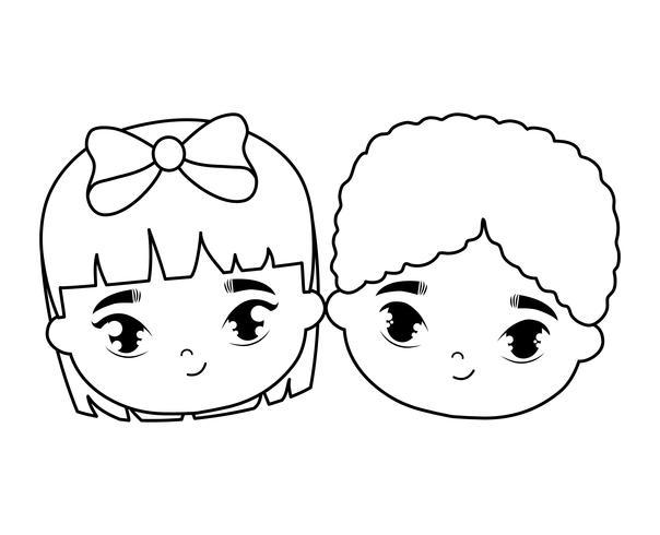 heads of cute little kids avatar character.