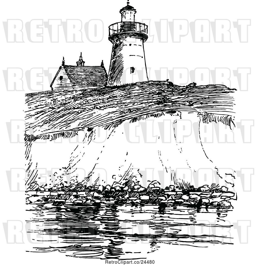 Vector Clip Art of Retro View of Long Island Lighthouse by.