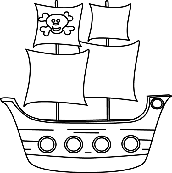 Free Pirate Ship Clipart Black And White, Download Free Clip.