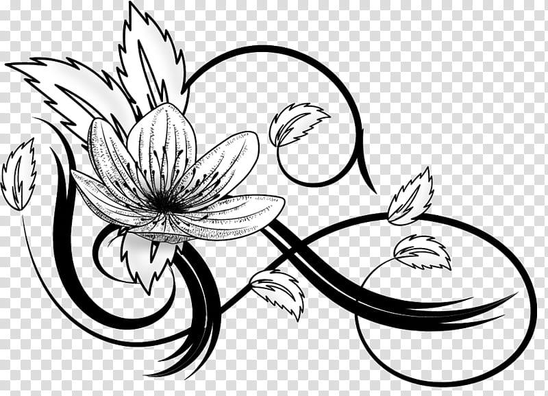 Flowers, white and black flower illustration transparent.
