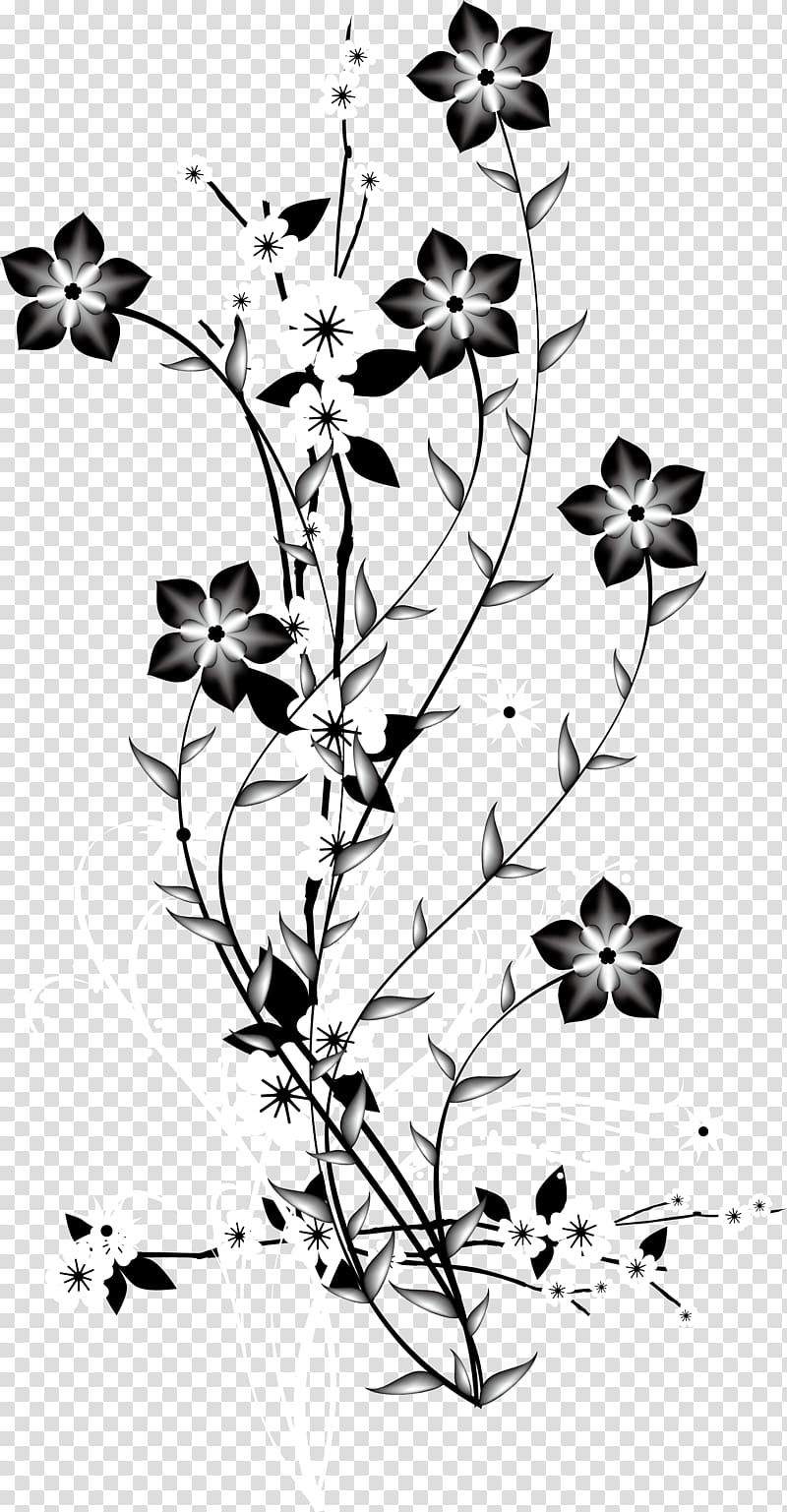 China Japan Flower Euclidean , Black and white decorative.