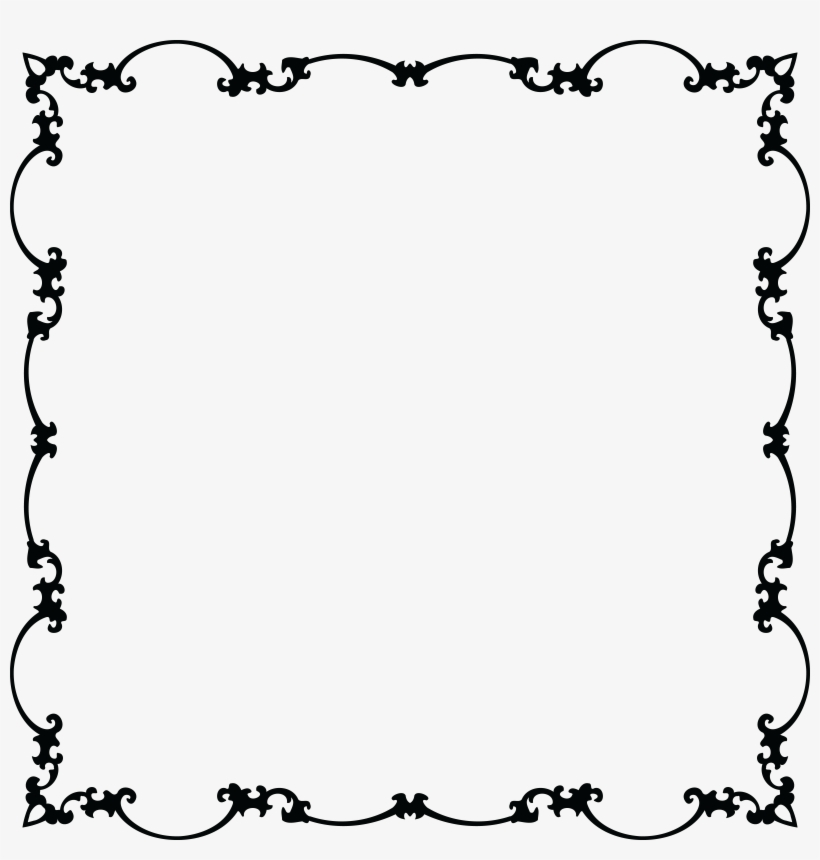 Free Clipart Of A Fancy Floral Frame Black And White.