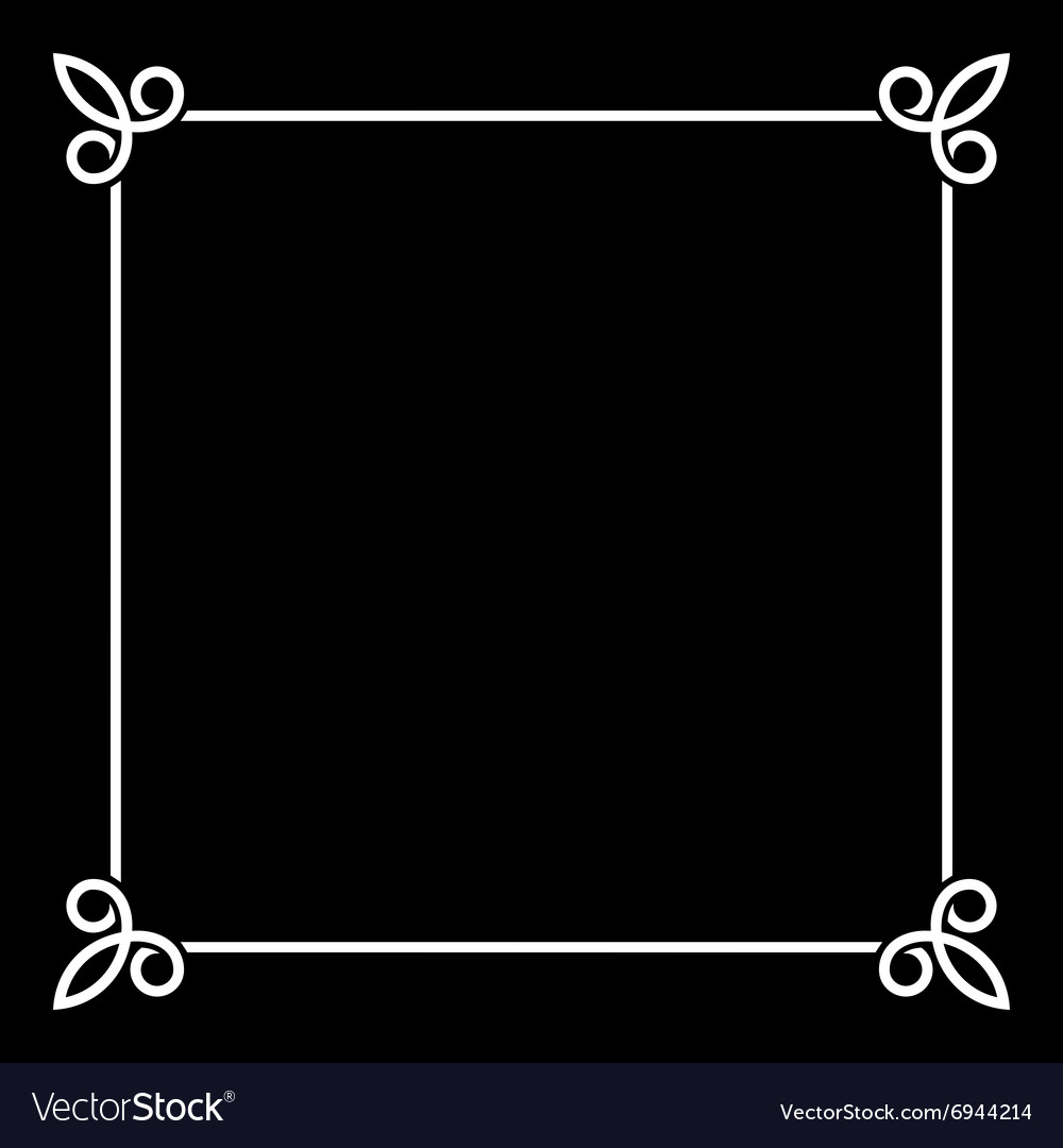 White Border Vintage Frame on Black Background.