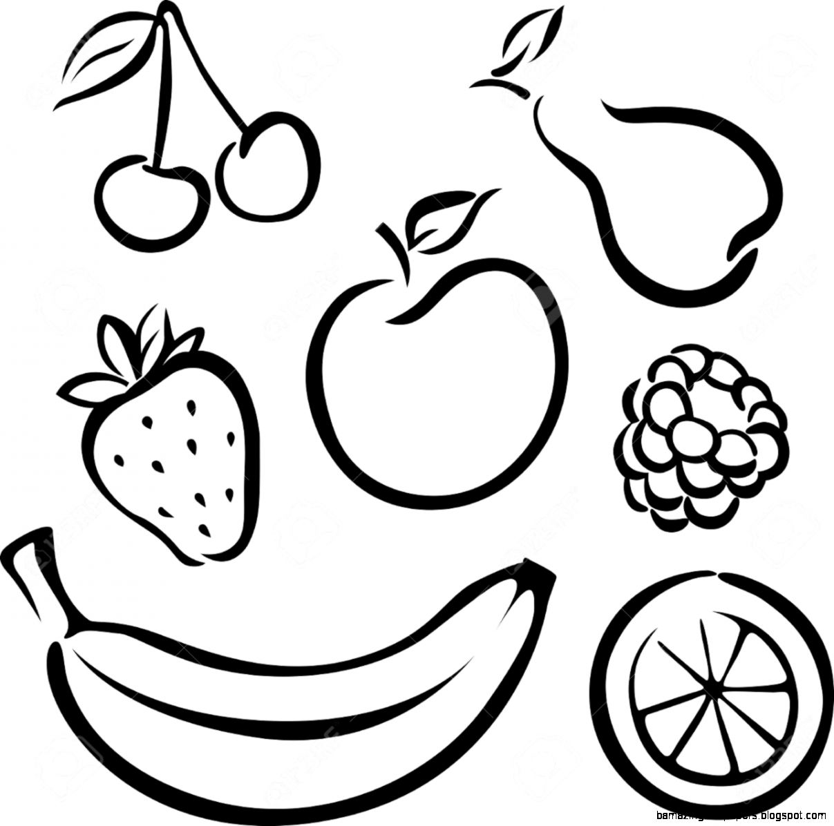 Fruit Clipart Black And White.