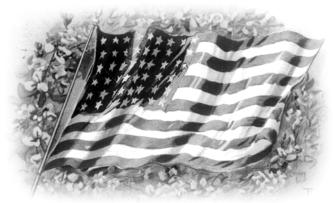 Black White Memorial Day Flag Clipart.