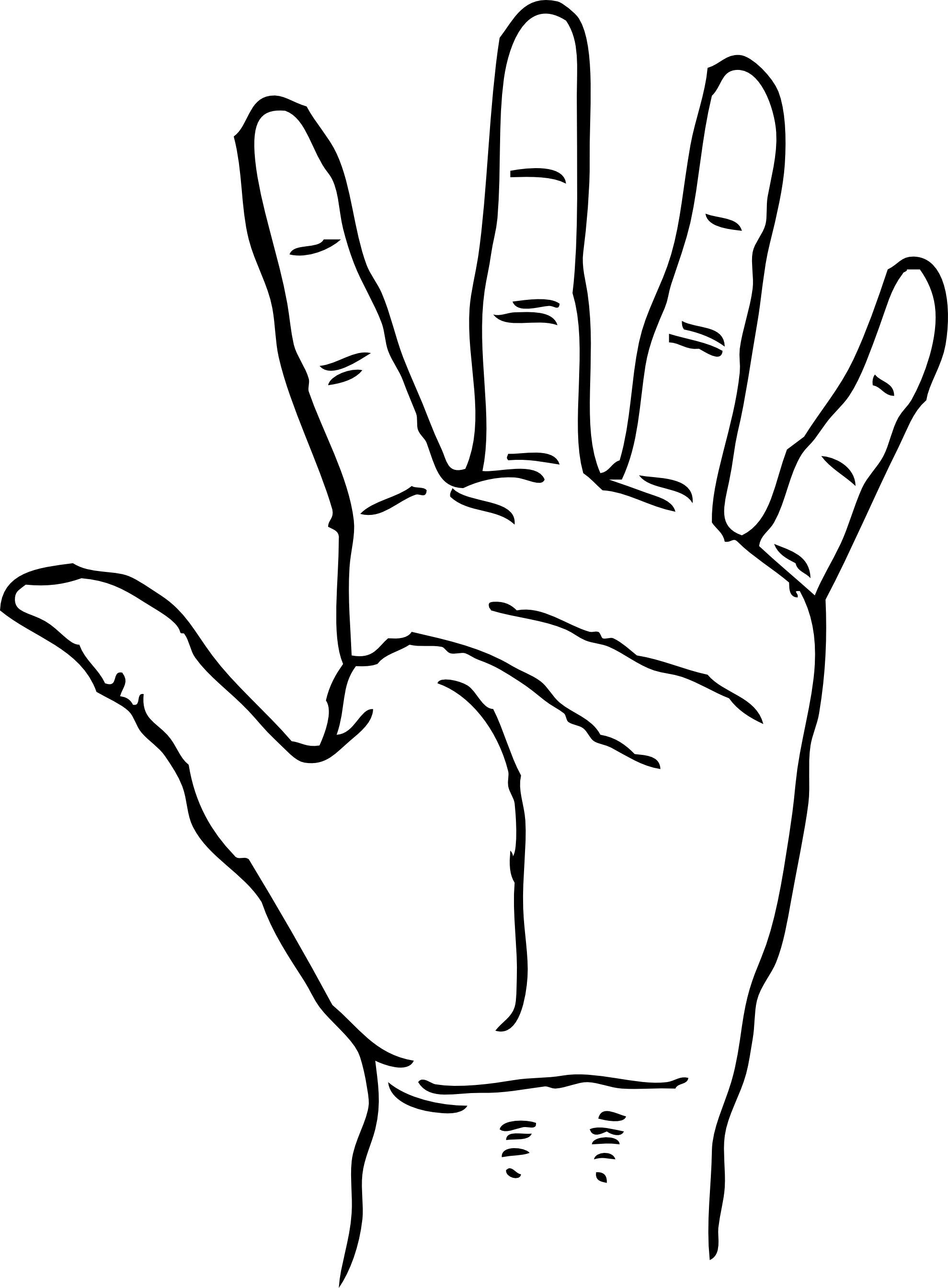 Black And White Clipart Hand.