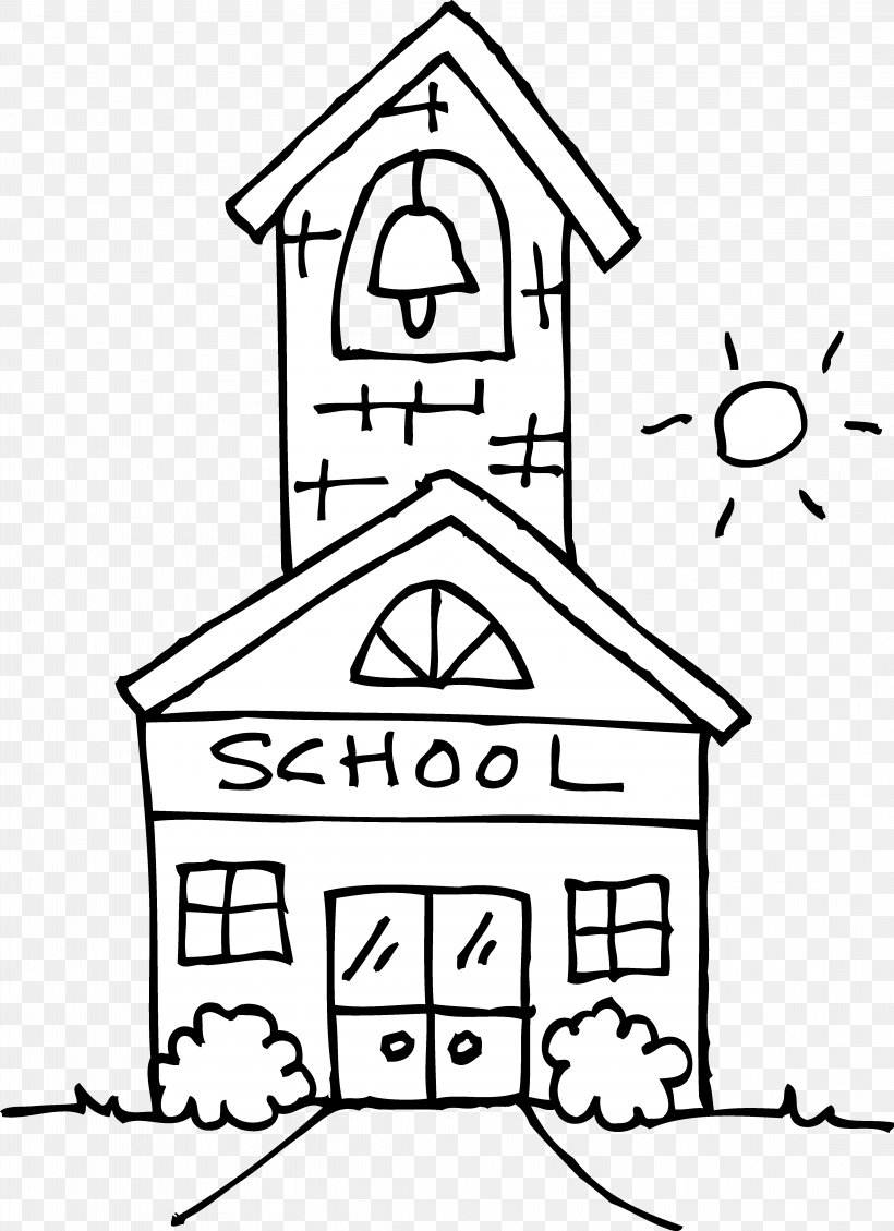 School Black And White Outline Clip Art, PNG, 4453x6136px.