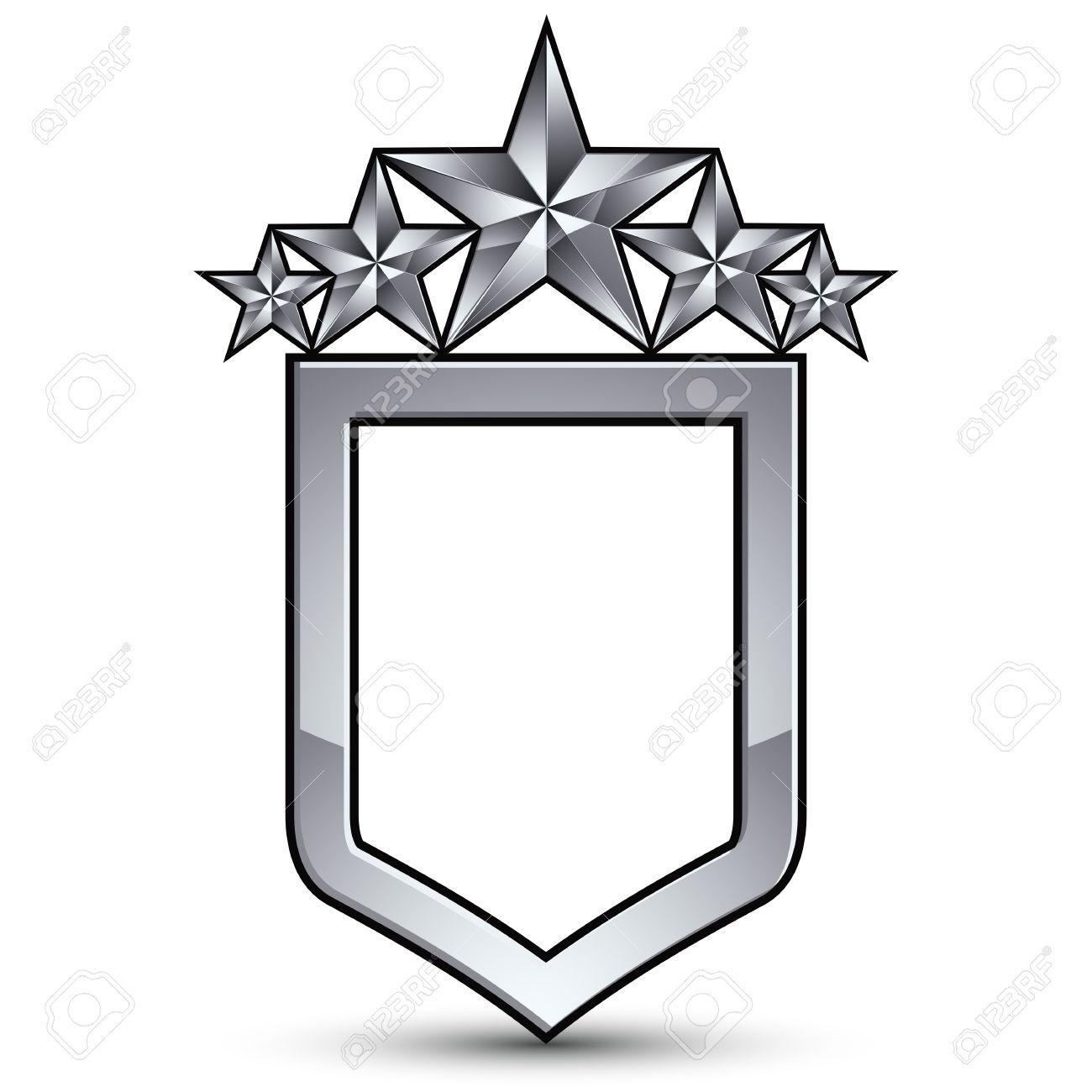 Festive Emblem With Silver Outline And Five Pentagonal Stars.