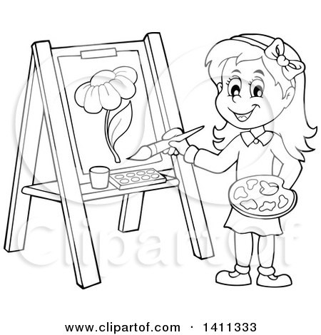 Clipart Of A Cartoon Black And White Lineart Girl Painting A.