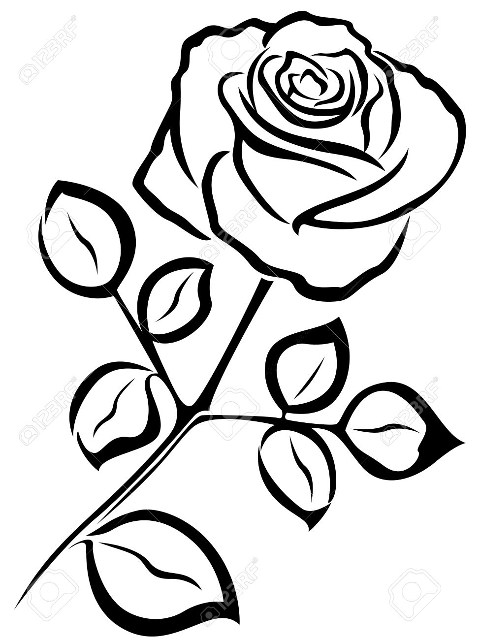 Rose Clipart Black And White Outline.