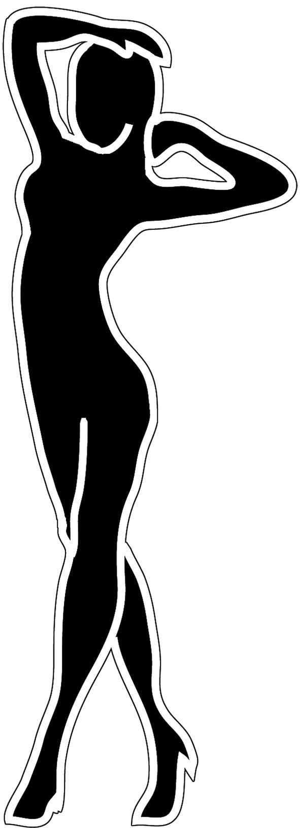 Black And White Female Silhouette.