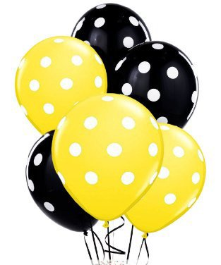 Polka Dot Balloons 11in Premium Black and Yellow with All.