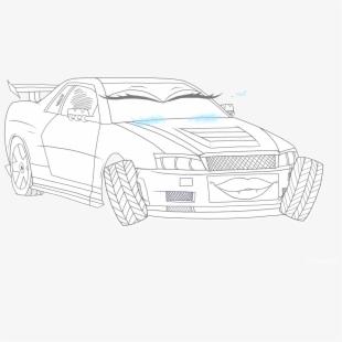 R34 Drawing Black Car.
