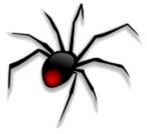 Clipart Picture of a Black Widow Spider.