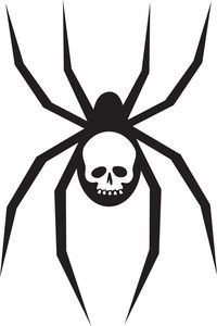Black Widow Spider Clipart Image: Creepy Black Widow Spider with a.