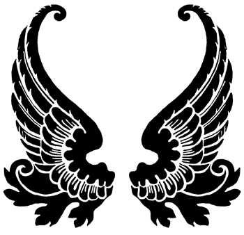 Wings clipart black and white.
