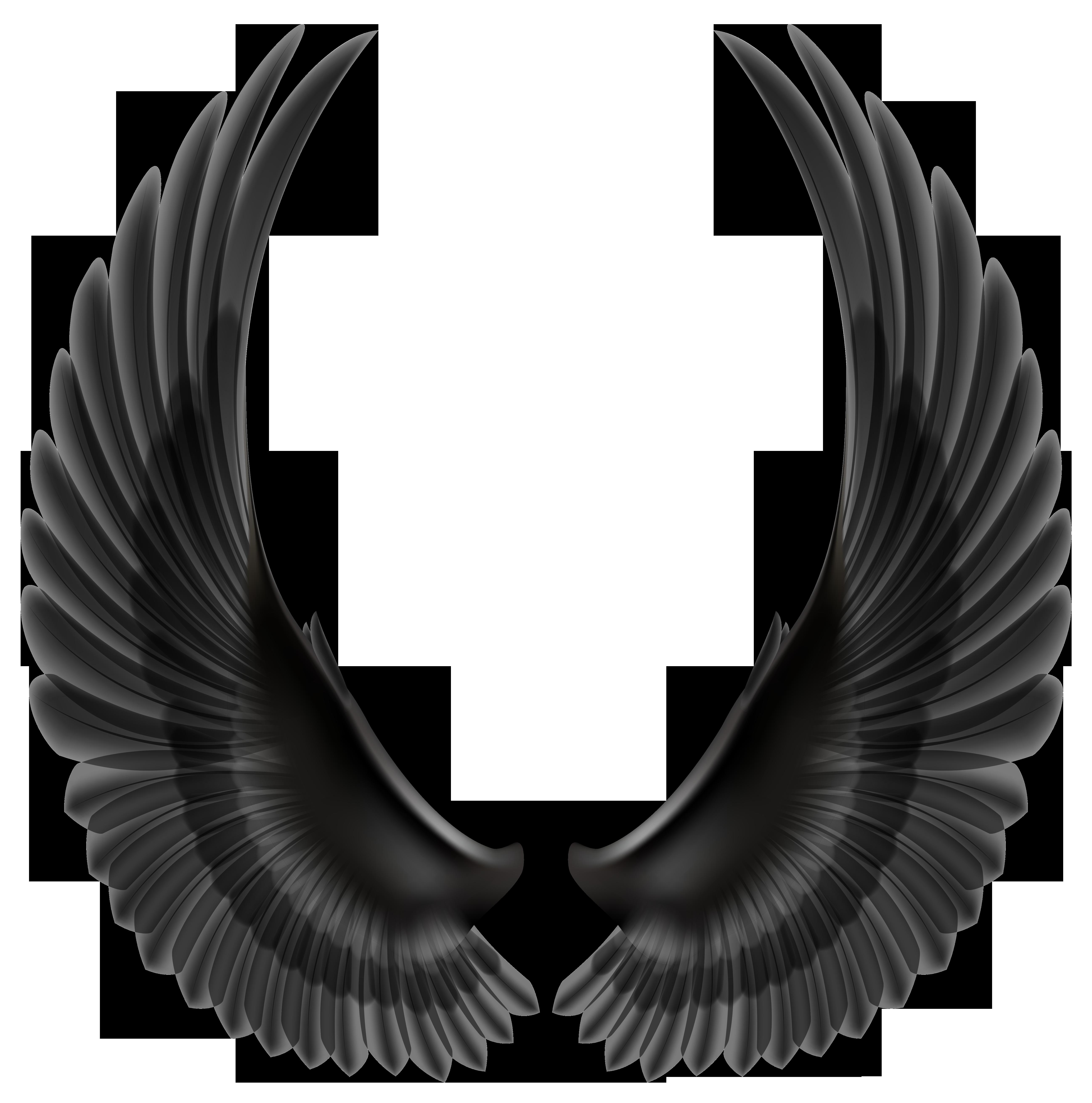 Black Wings PNG Clip Art Image.