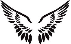 Angel wings clip art black and white.