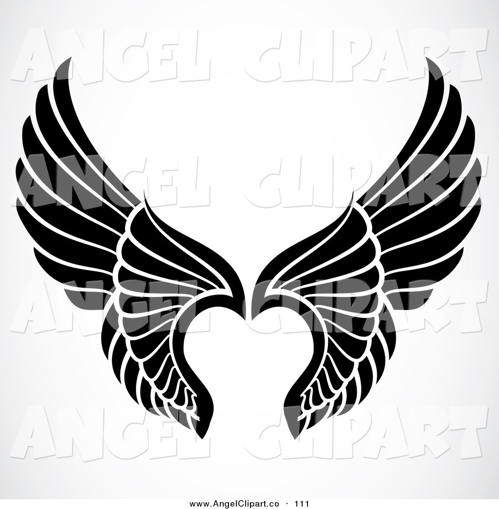 Angel Wings Black And White Clipart.