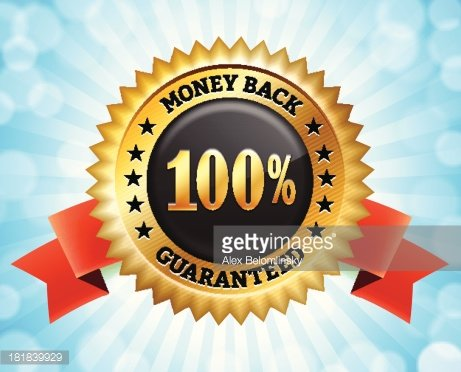 Money Back Guarantee Black and Yellow Badge Clipart Image.