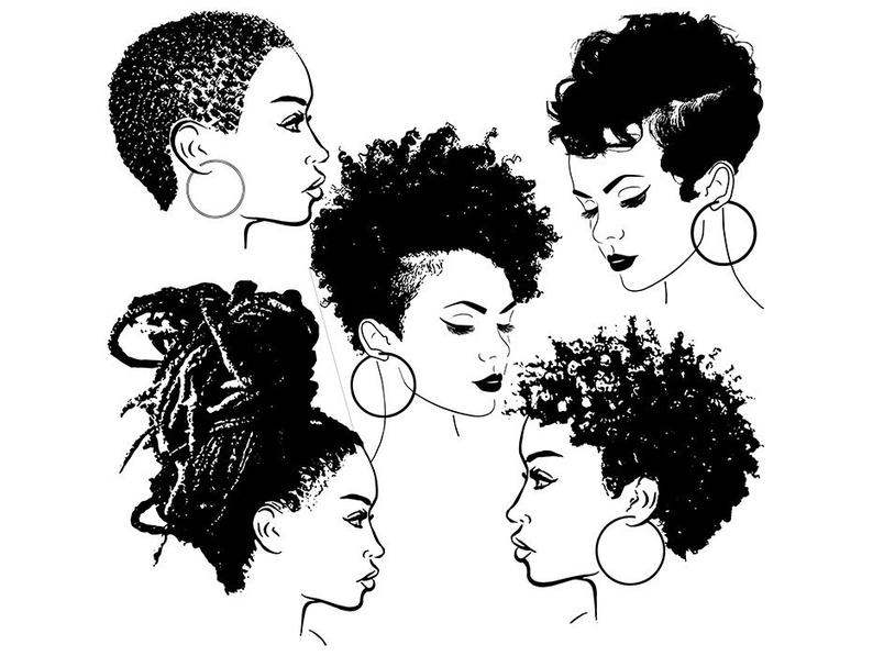 Bundle of 5 Black Women Nubian Collection Set Afro African American Female  Lady SVG .EPS .PNG Vector Clipart Digital Circuit Cut Cutting.