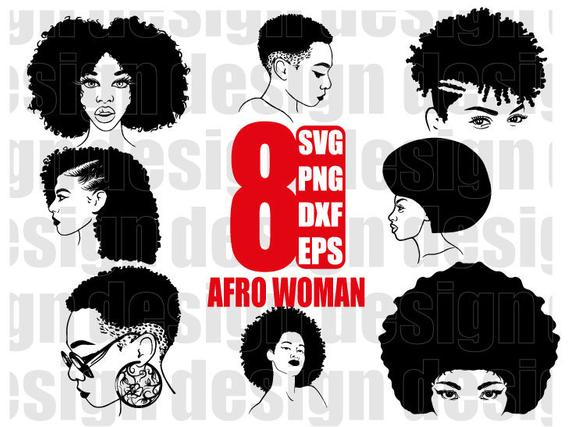 afro woman svg, black woman, funky woman, afro girl, black girl, curly  hair, afro hair, clipart, stencil, vinyl cut files, iron on files.