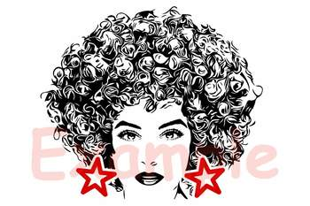 Black woman svg Natural Hair Afro clipart 141sv.