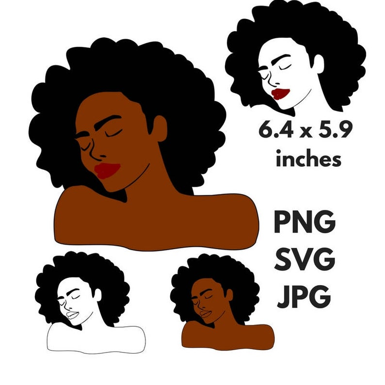 Black Woman Afro Silhouette SVG Clip Art Natural Nappy Curly Hair PNG Files  Digital Art Black Queen African American Black Beauty svg.