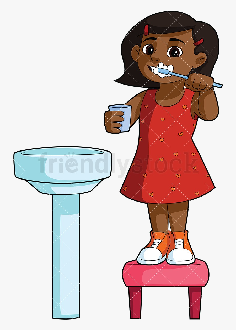 Brush Teeth Black Girl Brushing In Sink Cartoon Clipart.
