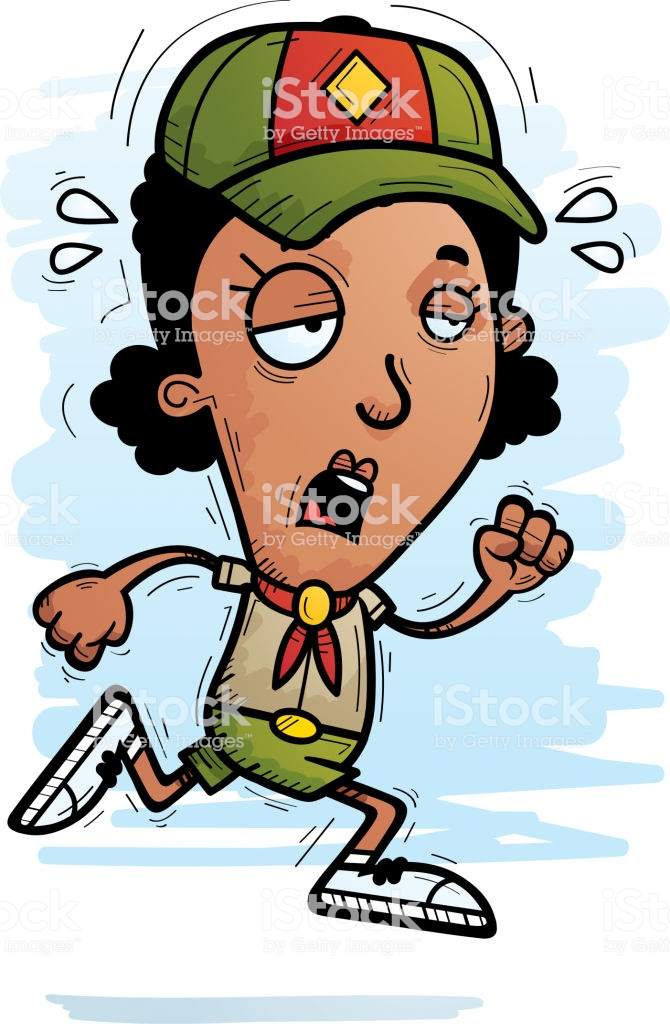 Exhausted Cartoon Black Woman Scout Stock Illustration.